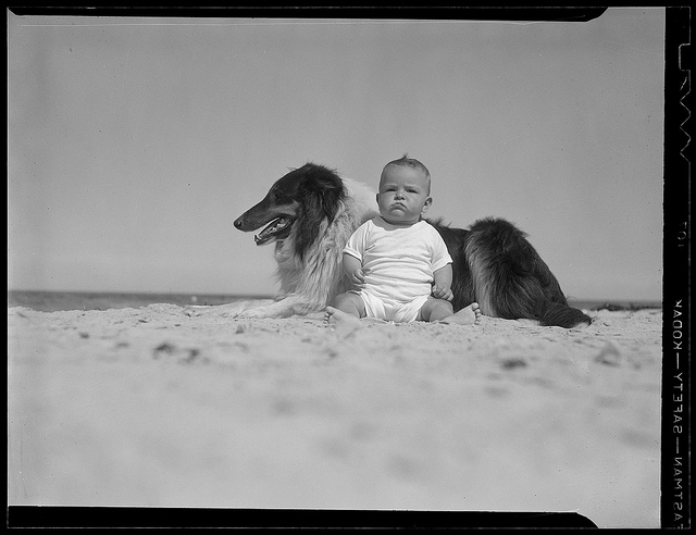 1937: Baby and dog
