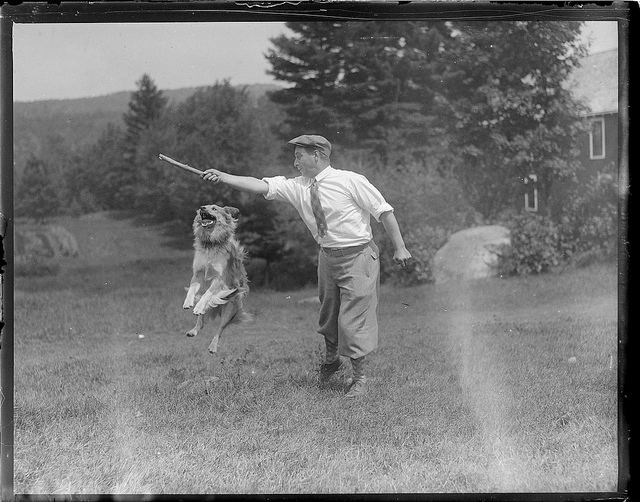 "1927-08: Leslie Jones and ""Smut"" showing some tricks, New London, N.H."