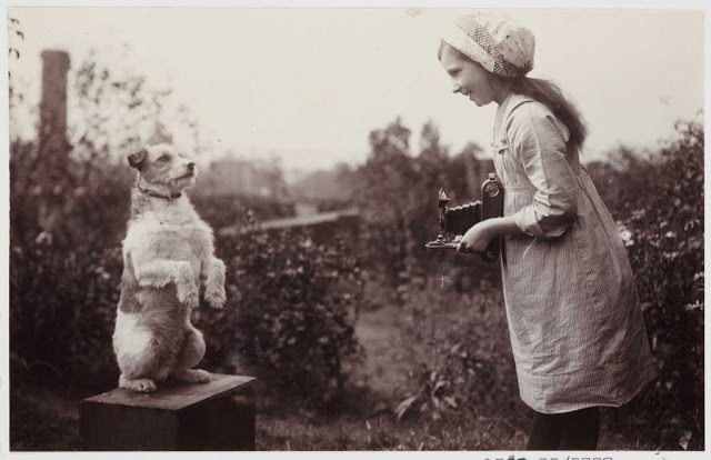 Girl photographing a dog, ca. 1910. (Photographer unknown, via National Media Museum)
