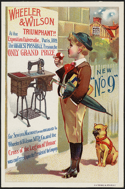 1870-1900: New 'No 9' Wheeler & Wilson triumphant!! At the Exposition Universelle, Paris 1889. The highest possible premium, the only grand prize for sewing machines was awarded to Wheeler & Wilson M'f'g Co. and the Cross of the Legion of Honor was conferred on the president of the company.