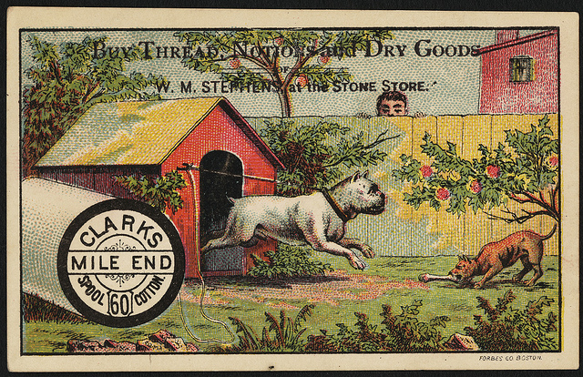 1870 - 1900: Buy thread, notions and dry goods of W. M. Stephens at the Stone Store, Clark's Mile End 60 Spool Cotton