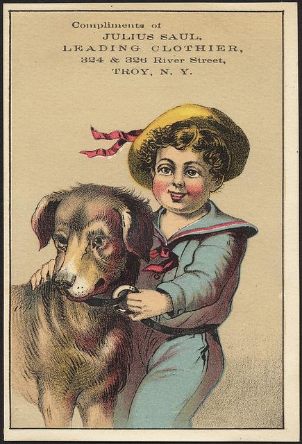 1870-1900: Compliments of Julius Saul, leading clothier, 324 & 326 River St., Troy, N. Y.