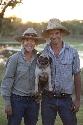 Pictured is Pug with Head Stockman Corey Bagshaw and his wife Rachael. Pictured at Delamere Station, NT. Photo by Melanie Faith Dove