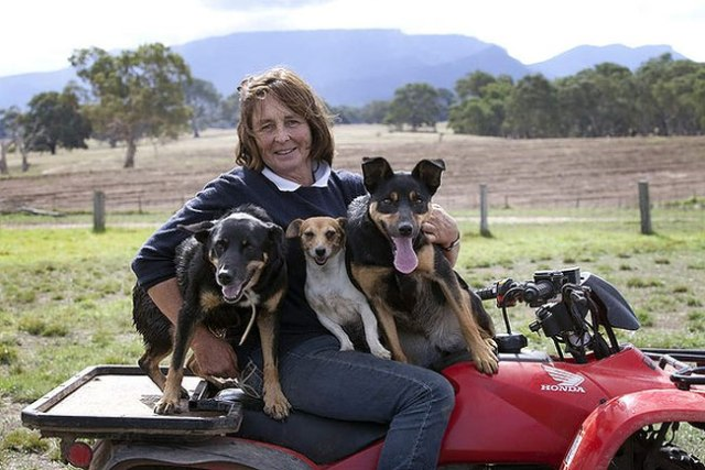 At the foothills of the Grampians, Anne Abbott sits at Mt William Station with Cass, Bang and Lucy. Photo by Melanie Faith Dove