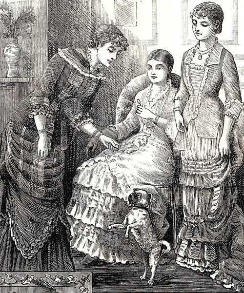 Fashionable ladies with a dog, Cassell's Family Magazine, 1881.