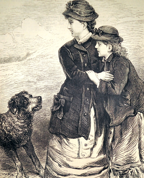"""""""Nora and Molly frightened by the dog."""" Chatterbox, 1881."""