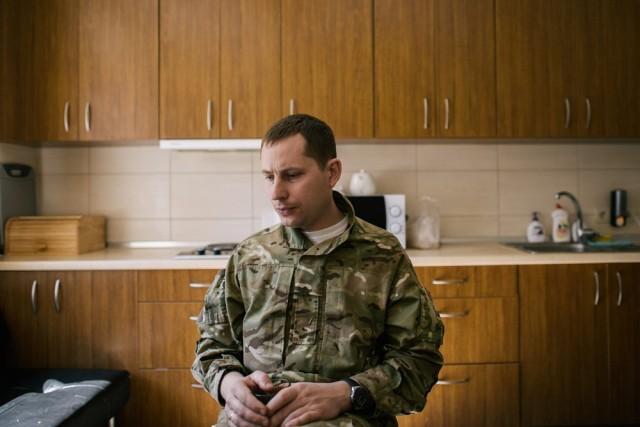 Nikolai Garus, 34, in the kitchen of Yanukovych's kennel