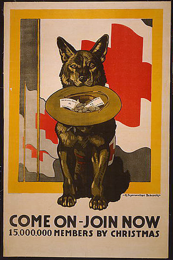 Come On, Join Now, 15,000,000 Members by Christmas - Vintage Red Cross Poster - 1917