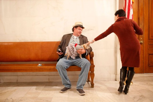 """Owner Dean Clark holds Frida, a female Chihuahua, as she is patted by a worker before the San Francisco Board of Supervisors issues a special commendation naming Frida """"Mayor of San Francisco for a Day"""" in San Francisco, California November 18, 2014. (Photo by Stephen Lam/Reuters)"""