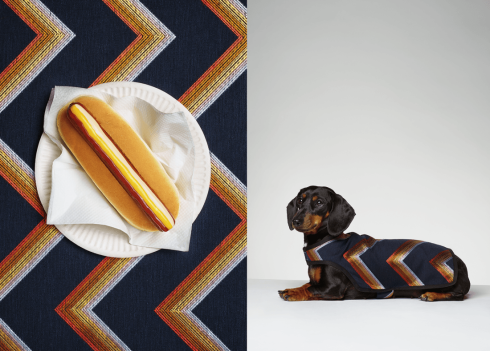 Betty Wears Paul Smith SS15 Navy Chevron Stripe Betty eats chicken & beef sausage, ketchup, American mustard and Marie Rose sauce