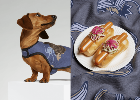 Frank wears Paul Smith SS15 Grey & Blue Spot Banana Print Frank eats pork cocktail frankfurter, brioche roll, slaw and pickled red onion