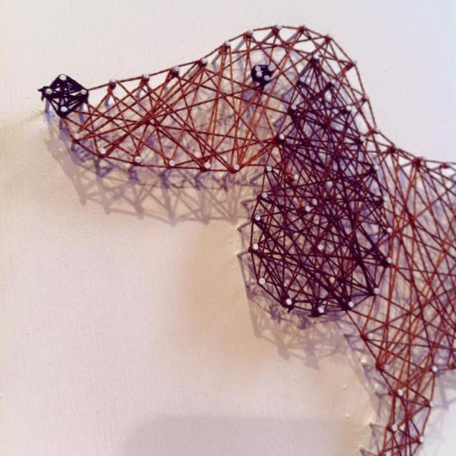 DIY and create your own string art doggie!     Check out this video - Making of... by Mr & Mrs Morgan.