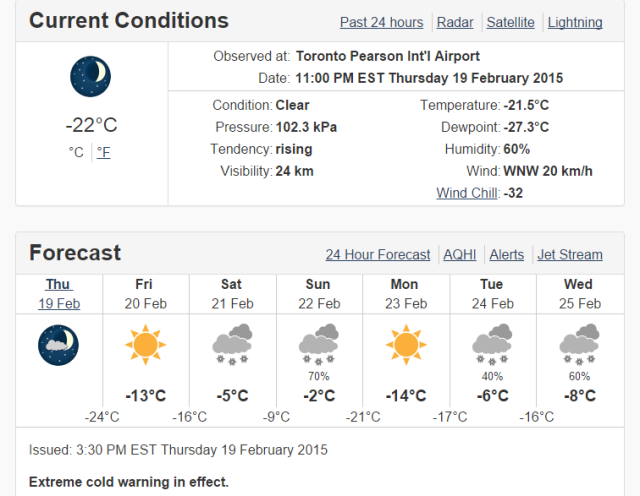 Toronto, ON - 7 Day Forecast - Environment Canada