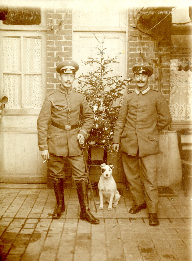Two German Officers probably of General von Kluck's, 1st German Army, resting behind the lines at Le Cateau, France, Christmas 1916, during the grinding battles of attrition at the Somme and Ver dun. Le Cateau, which had been occupied by the British forces since their arrival in France, became the second major battle of WW1 on 24thAugust 1914. A huge setback for the Allied forces. The bloody battle saw the British forces heavily defeated and forced to withdraw, retreating to the West. Two years later, as the picture shows, Le Cateau had still not been retaken by the Allies.