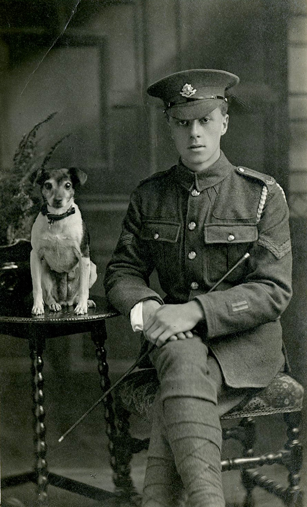 Corporal of the Worcestershire Regiment and canine companion, circa 1917. (Note two wound stripes on left cuff – these weren't introduced until August 1916)