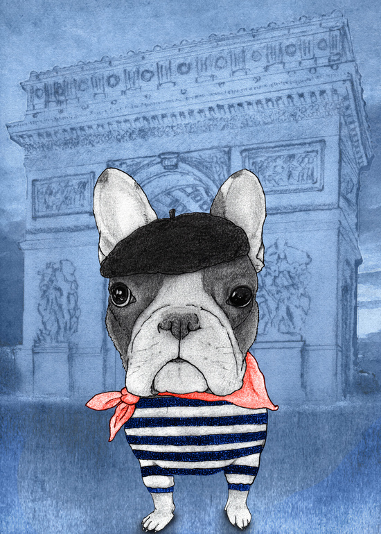 French Bulldog With Arc de Triomphe
