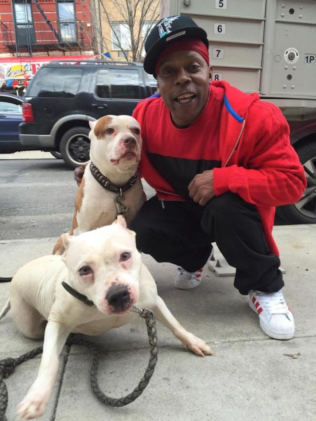 """Diamond and his dogs, Pretty Boy and Tiny, live in Brownsville, Brooklyn. """"It's not true what they say about these dogs. You know, all that bad stuff? It's all how you treat them. Just look at these two!"""""""