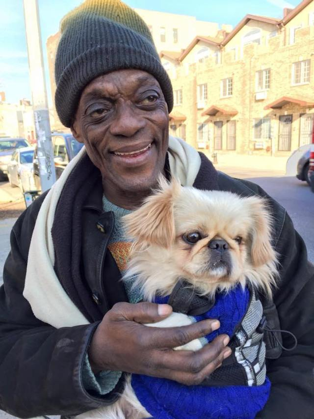 """Douglas and Boyd live in Brownsville, Brooklyn. """"I prayed to St Francis asking him to send me a nice dog. The next week, I got him. He belonged to the neighbors but their son was allergic to the dog. So I took him in. He's my baby, I love him so much!"""""""
