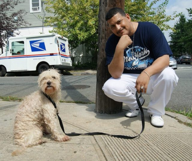 """Lite is a 3-year-old dog from South Jamaica, Queens. """"They gave him to me when my daughter died of cancer in 2010, to help me heal."""""""