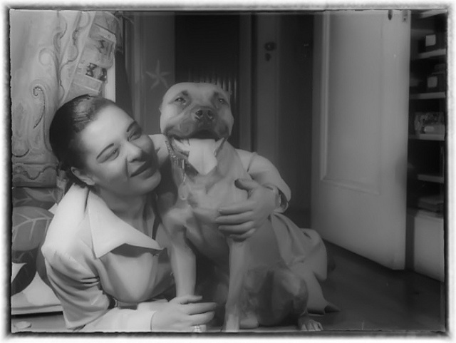 Billie Holiday and Mister, New York, NY, ca. June 1946, photo by William P. Gottlieb