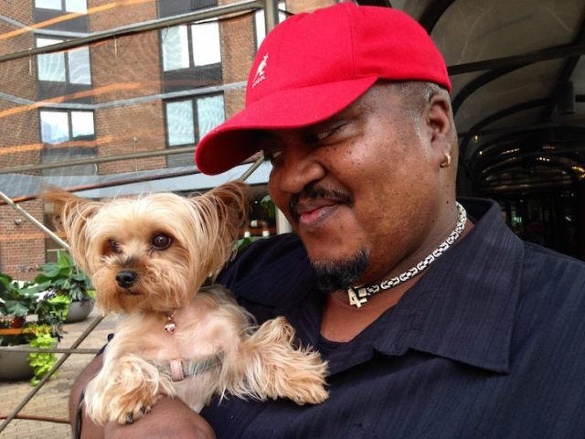 """James and his dog Grace Alexander live in Hells Kitchen, Manhattan. """"When she first came to me she had dark brown hair, so I thought I was getting an Angela Bassett. But then I gave her a bath and her hair was actually blonde, and she became Goldie Hawn."""""""