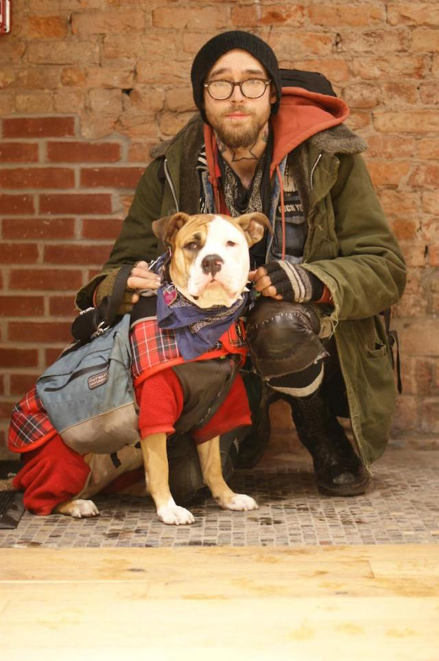 """Sookie and Ed in Union Square, Manhattan. """"Sometimes people give me grief because I don't have a permanent home right now. But we're together 24/7. She has a great life, and she makes mine better, too."""""""
