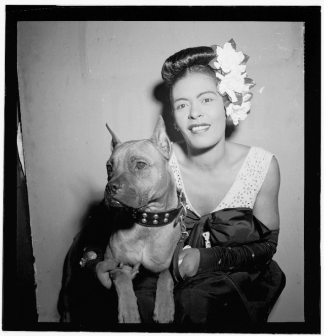 Portrait of Billie Holiday and Mister by William Gottlieb at the Downbeat in New York, Feb. 1947