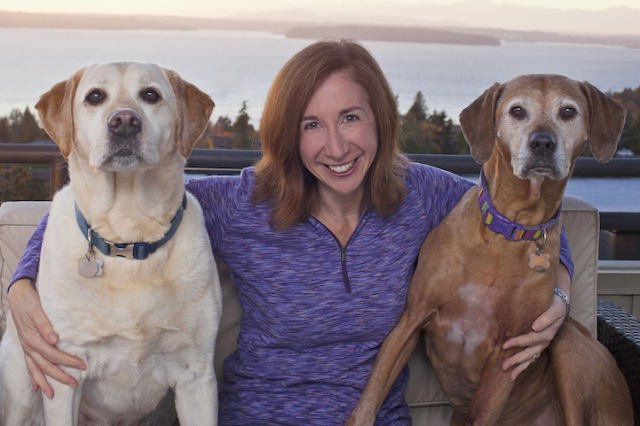 """Author Laura T. Coffey is pictured with her two senior dogs, Manny (left) and Frida. Photo copyright Lori Fusaro / """"My Old Dog"""" (Copyright Lori Fusaro / """"My Old Dog"""")"""