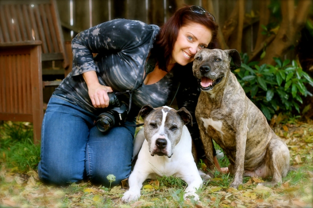 Photographer Lori Fusaro is pictured with her two senior dogs, Sunny (left) and Gabby. (Photo credit: Rita Earl)
