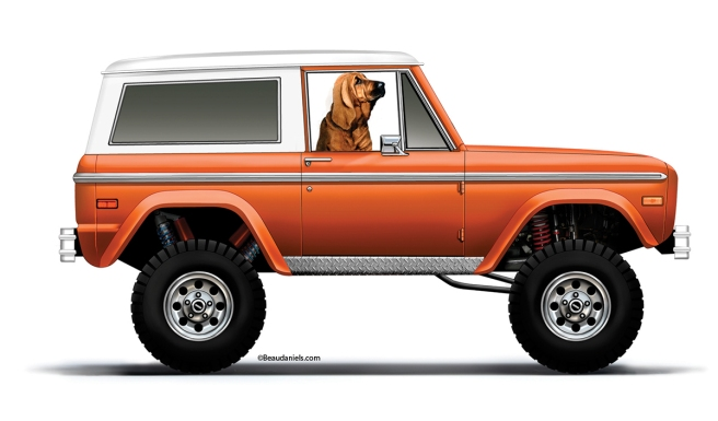 A 1972 Ford Bronco and a Bloodhound