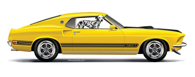 A 1969 Ford Mustang and a Dalmation